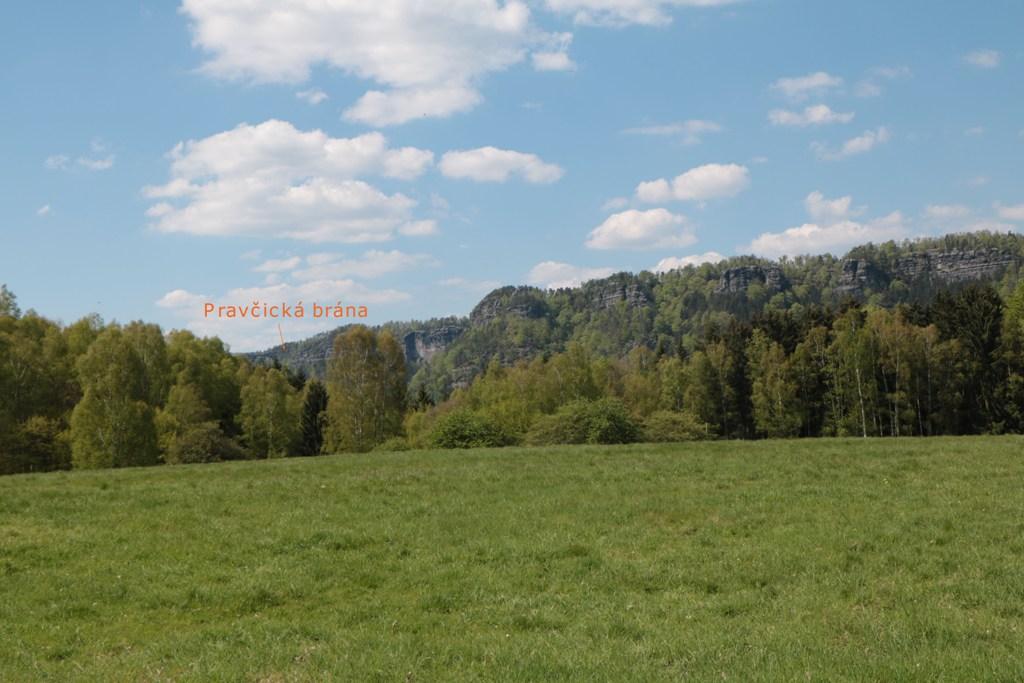 Auf der schnuckeligen Baumallee nach Rainwiese (Mezni Louka) sehen wir weit hinten links unser Wanderziel, oh je!