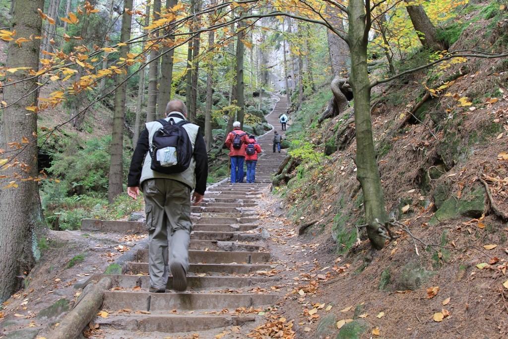 Der Aufstieg durch die Schwedenlöcher auf die Bastei hat begonnen!