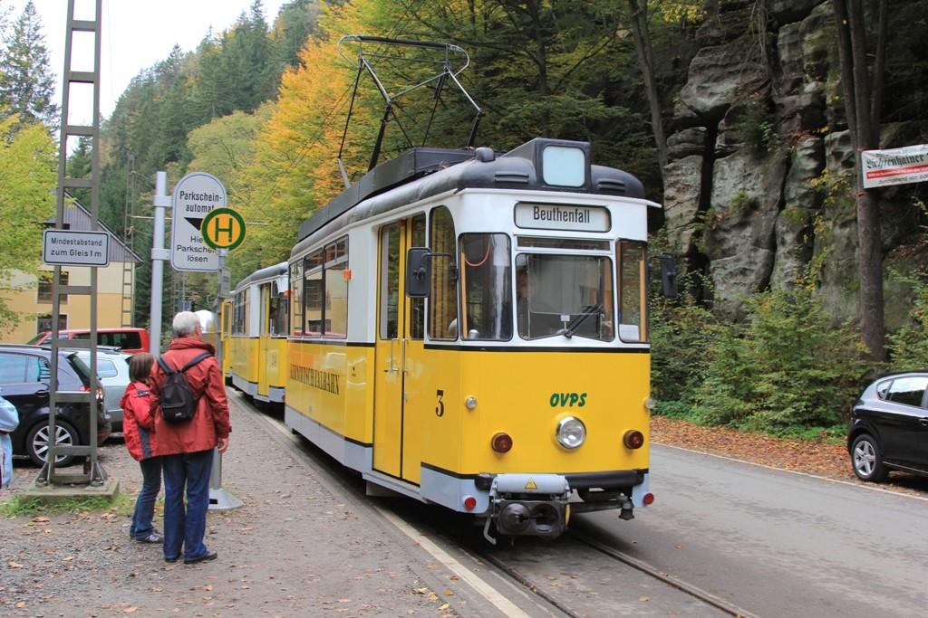 Von hier aus geht die Fahrt mit der Kirnitzschtalbahn zum Lichtenhainer Wasserfall