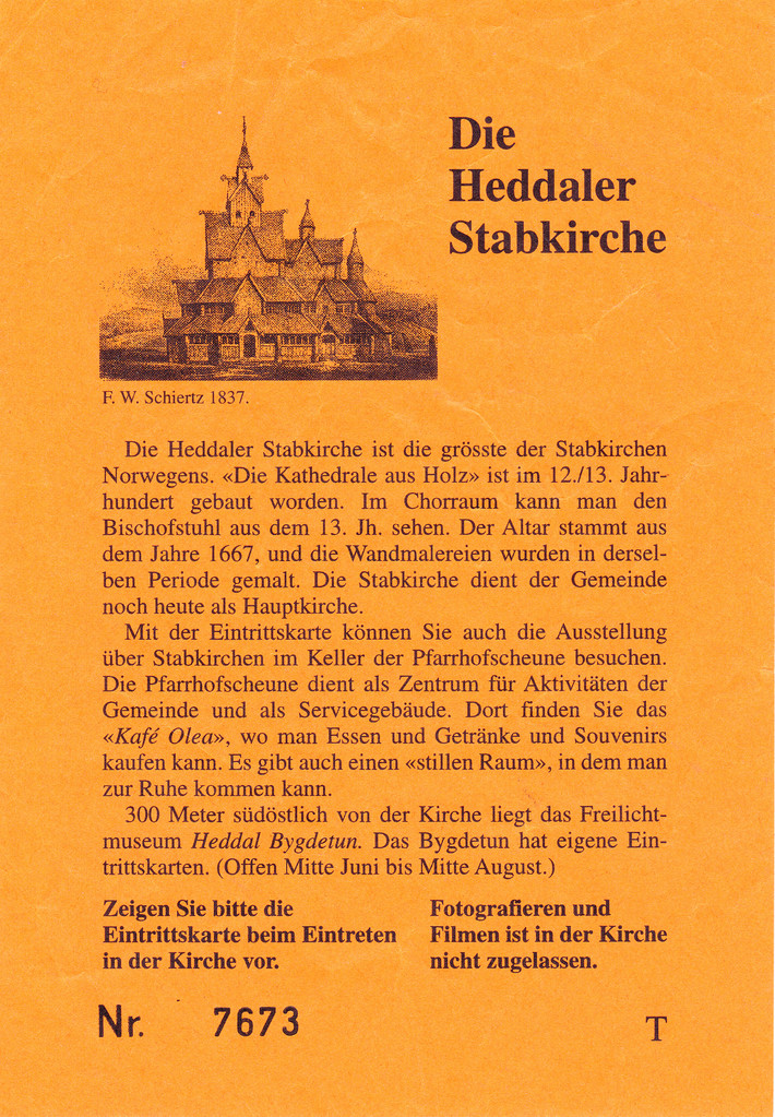 Eintrittskarte für die Stabkirche von Heddal.