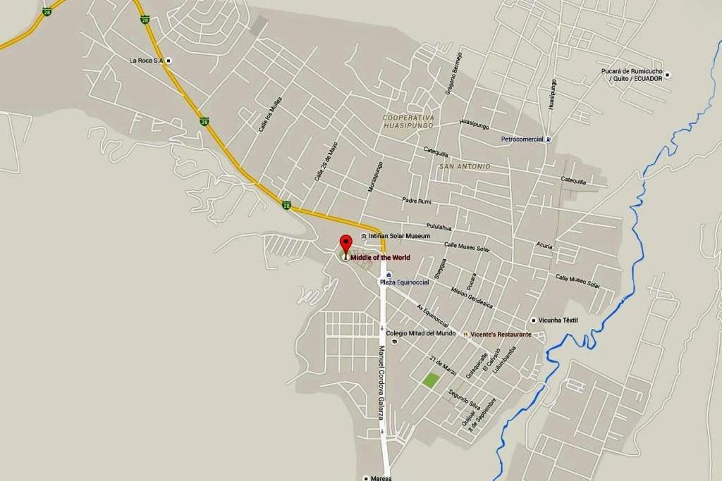 Die Karte von San Antonio de Pichincha der Standort, 23 km nördl. von Quito