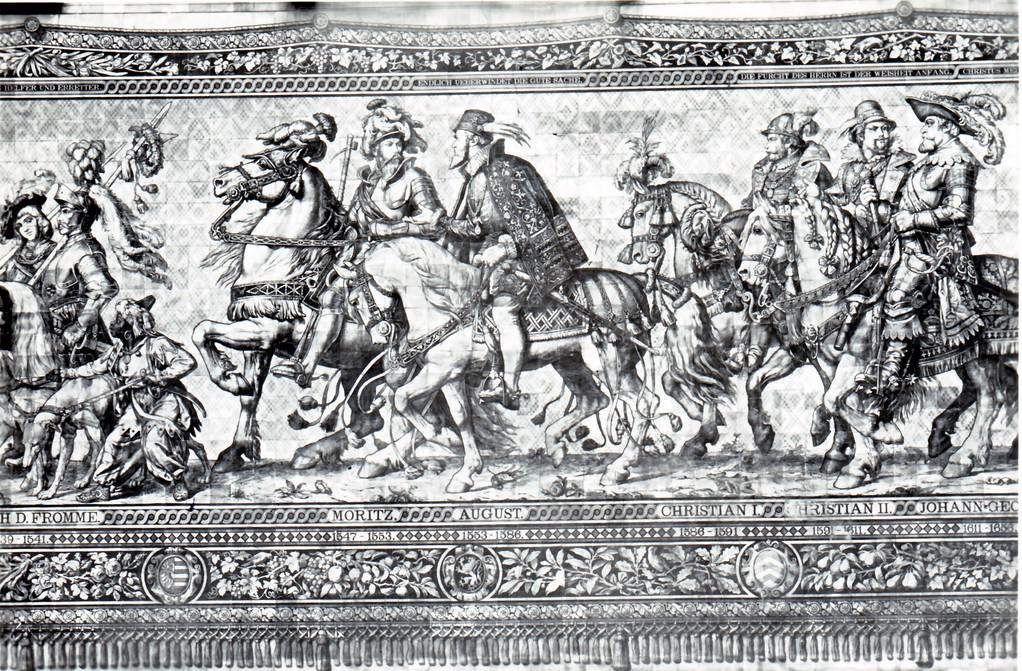 Historisches Wandbild, Meißner Kachelmalerei - Fürstenzug, 1541 - 1650