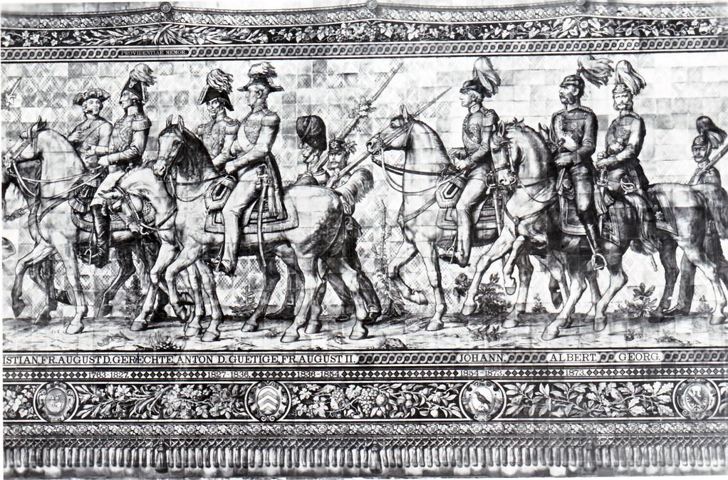 Historisches Wandbild, Meißner Kachelmalerei - Fürstenzug, 1763 - 1873