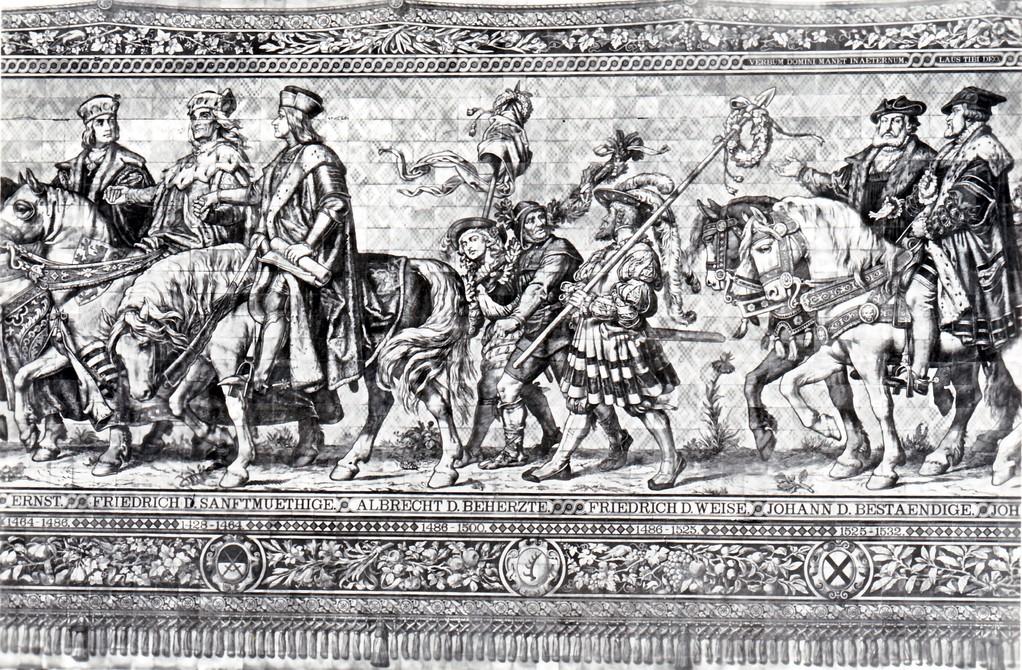 Historisches Wandbild, Meißner Kachelmalerei - Fürstenzug, 1464 - 1523