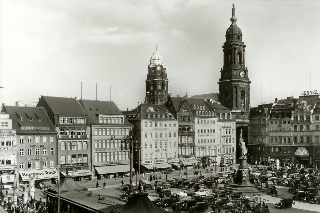 Dresden - Altmarkt m. Siegesdenkmal 1870-71 u. Kreuzkirche