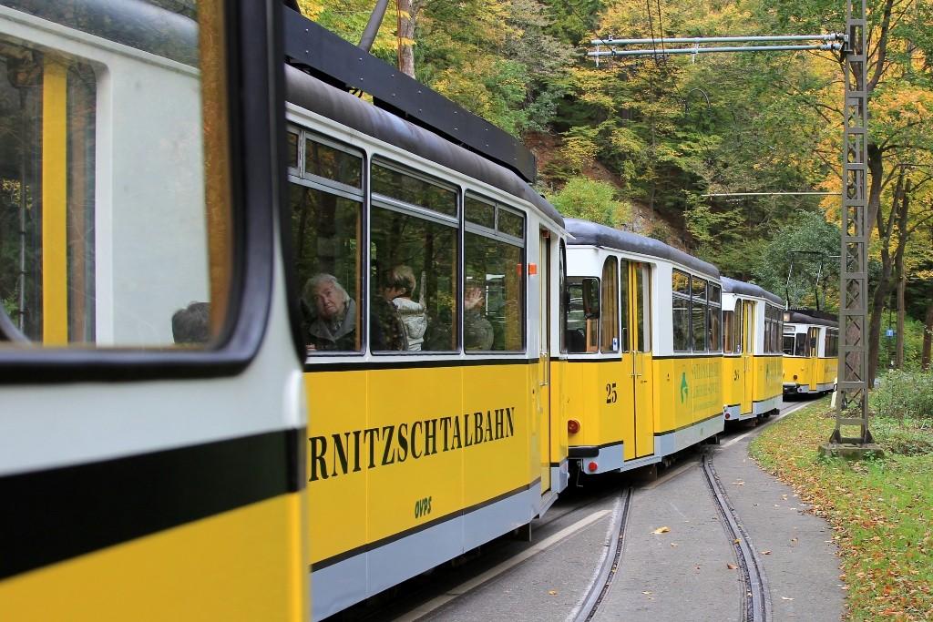 Die Waggons der Kirnitzschtalbahn an einer Ausweichstelle