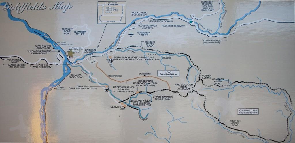 Die Goldfelder Karte um Klondike River und Bonanza Creek