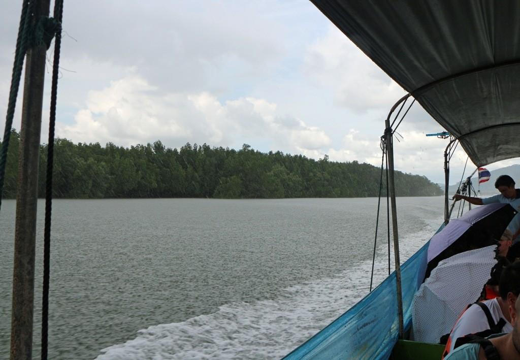 Die Spritzschutzplanen an den Längseiten mussten nun hoch geschoben werden. Zum Regen kam noch heftiger Wind auf. Links der Mangrovenwald!