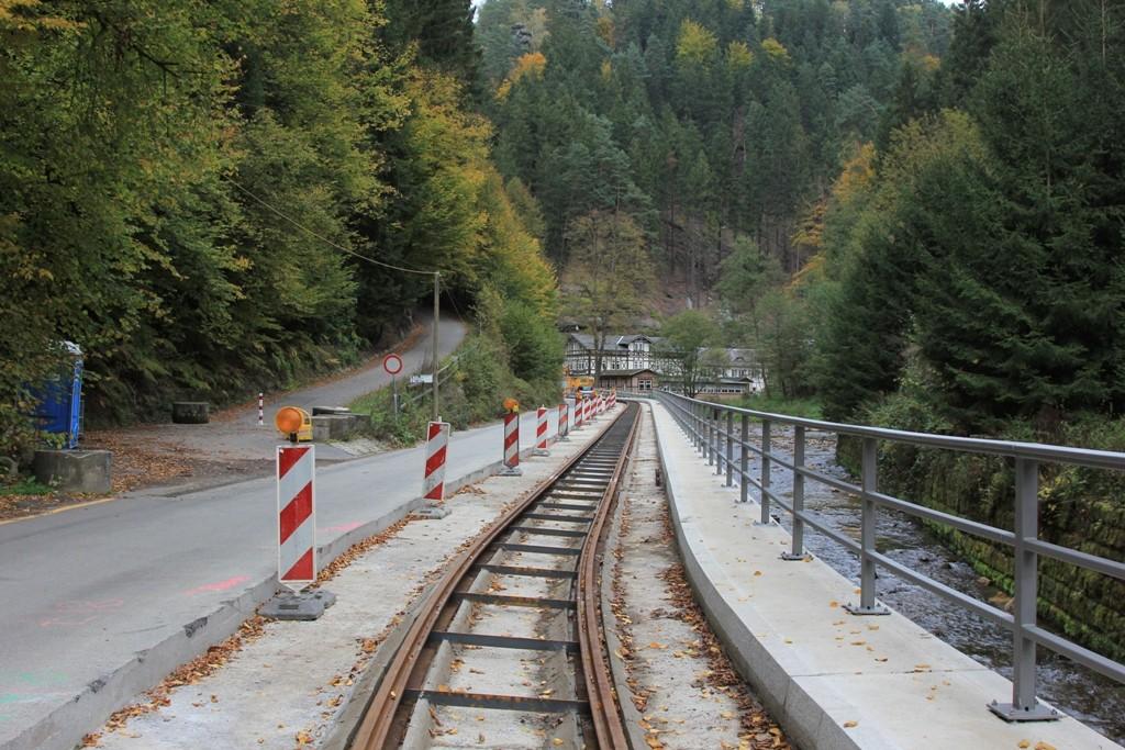 Die Kirnitzschtalstraße (S 165) wird nach den letzten schlimmen Hochwasser (2010 und 2011) umfassend Instand gesetzt.