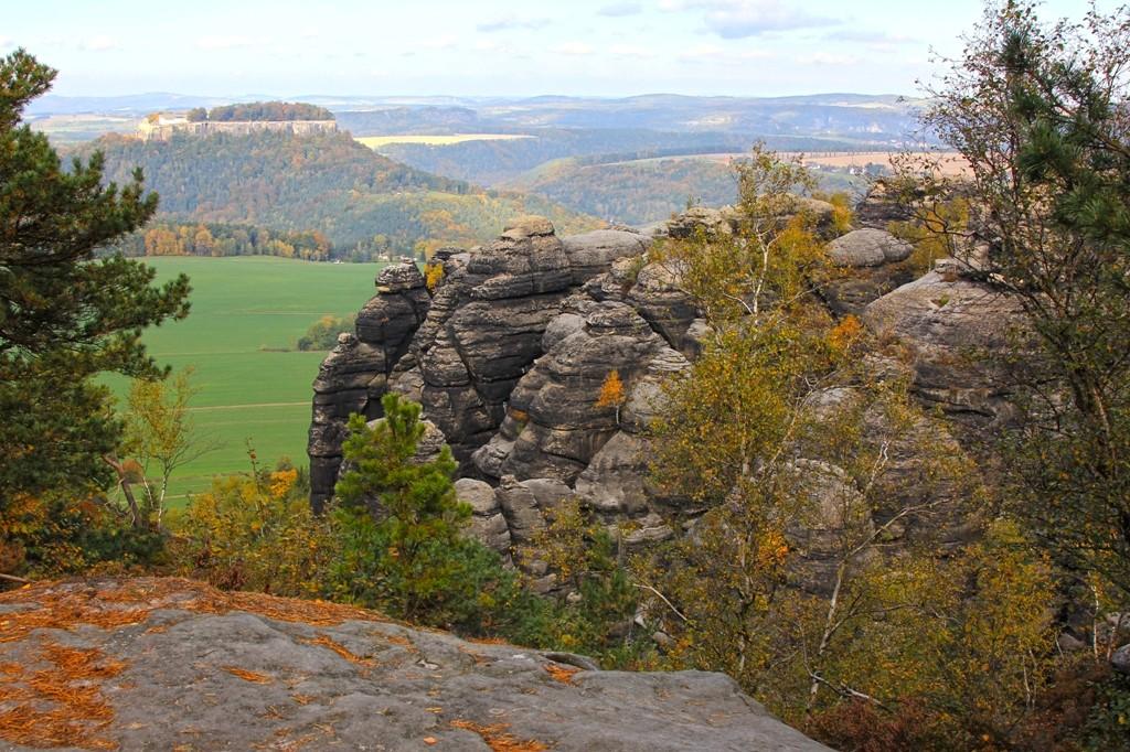 Blick vom Pfaffenstein auf die Festung Königstein