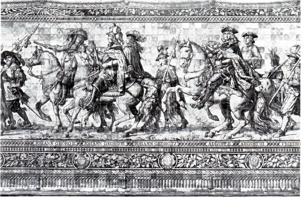 Historisches Wandbild, Meißner Kachelmalerei - Fürstenzug, 1656 - 1763