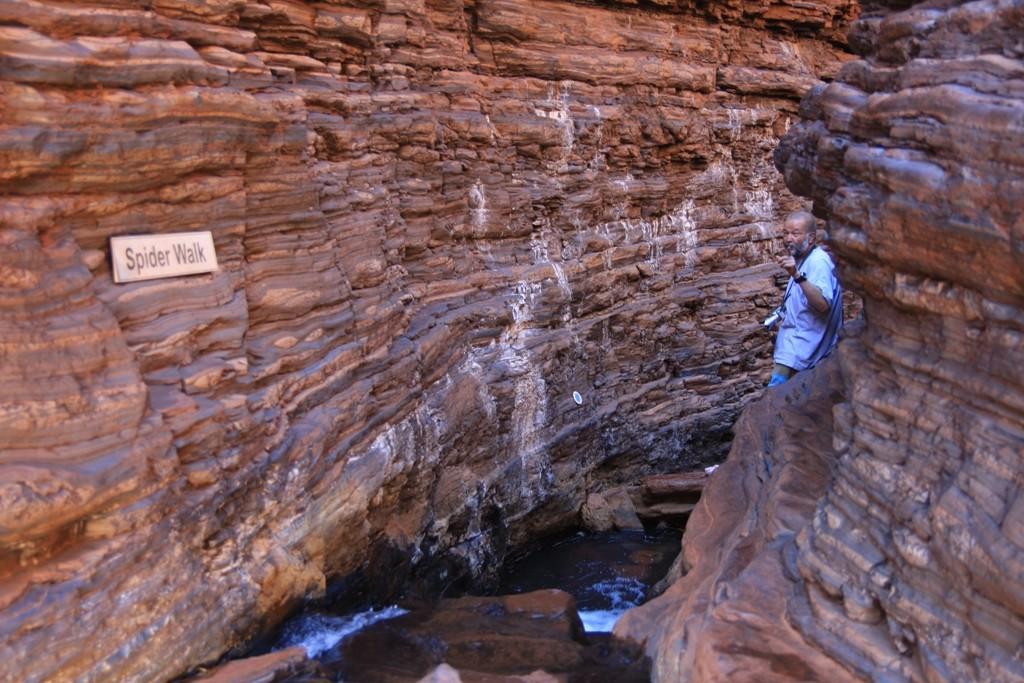 Immer tiefer geht es in den Hancock Gorge, für mich als ehem. Bergsteiger eine feine Sache, ich fühlte mich sauwohl, zumal hier unten die Temperaturen zum aushalten waren.