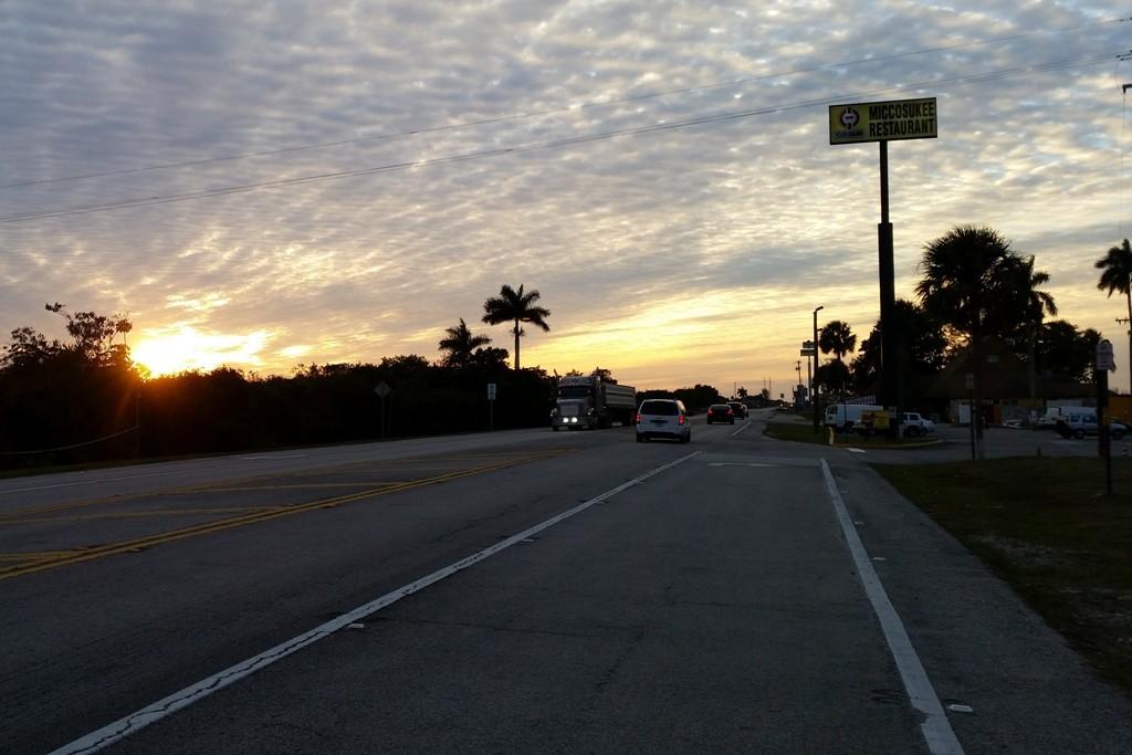 Sunset am Tamini Trail! Ende unserer ersten Tuchfühlung mit den Everglades