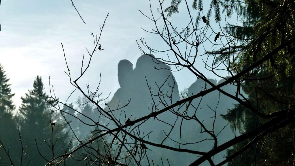 Der Mönch durch die Bäume gesehen.