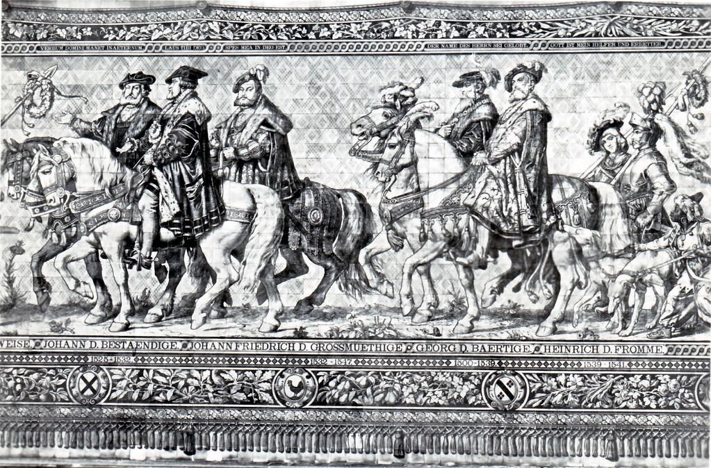 Historisches Wandbild, Meißner Kachelmalerei - Fürstenzug, 1532 - 1541