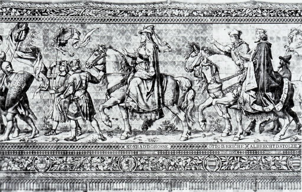 Historisches Wandbild, Meißner Kachelmalerei - Fürstenzug, 1127 - 1195