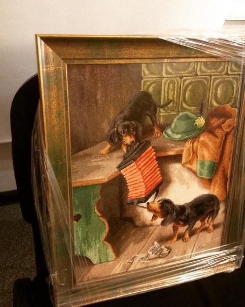 Оформление вышивки в деревянный багет с антибликовым стеклом