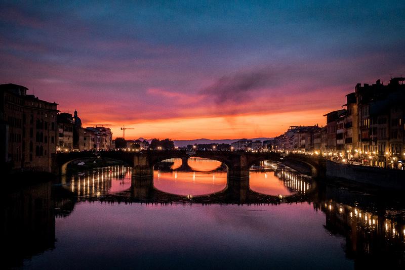 Florenz bei Nacht, Toskana, Italien,