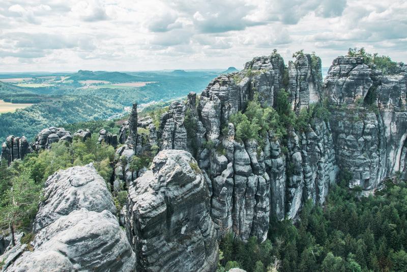 Schrammsteine, Schrammsteinaussicht, Elbsandsteingebirge, Sächsische Schweiz, Sachsen, Deutschland, Wandern