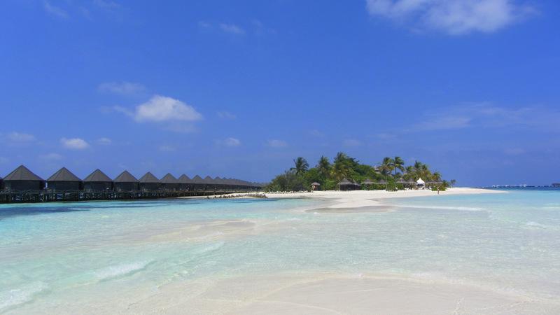 Strand, Malediven, Palmen, Bungalow, Meer, türkis
