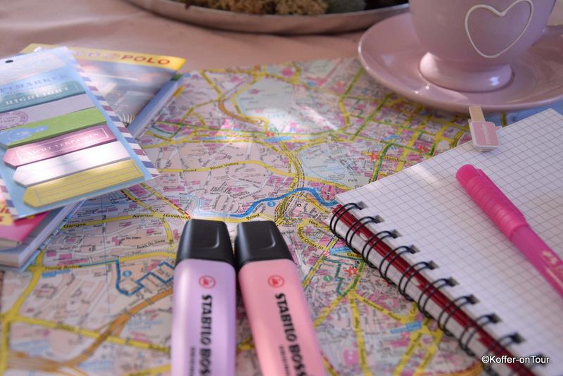 Reiseplanung, Stifte, Block, Stadtplan