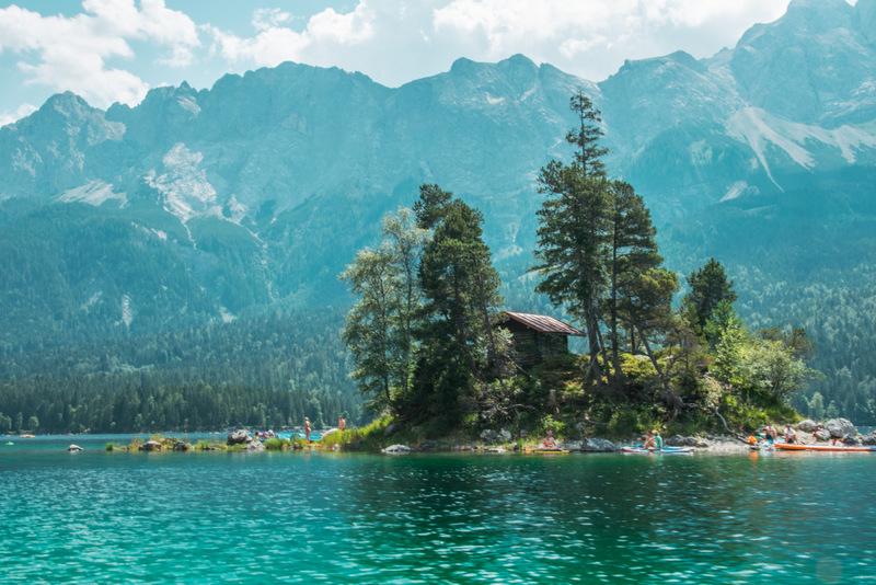 Insel, Eibsee, Zugspitze, Deutschland, Grainau