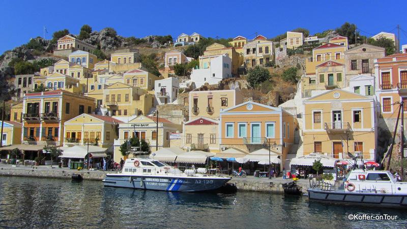 Symi, Griechenland, Insel, bunte Häuser, Ägäis