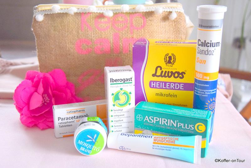 Reiseapotheke, Aspirin, Paracetamol, Bepanthen, Iberogast, Calcium, Heilerde