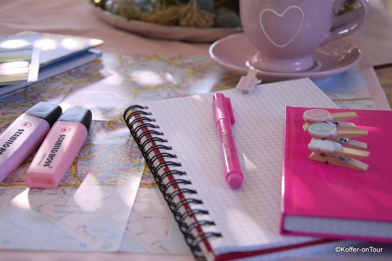Reiseplanung, Stifte, Notizen
