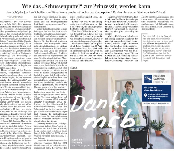 Artikel von Günther Peitz aus des Schwäbischen Zeitung vom 11. 12. 2019