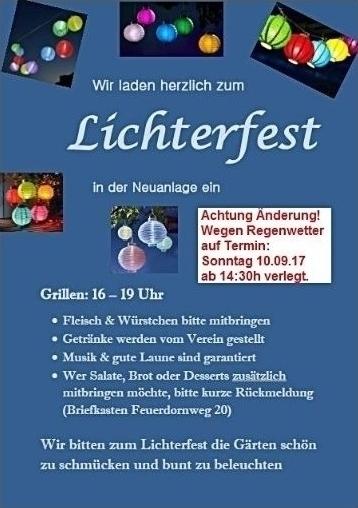 Lichterfest 10.9.2017 - Neuanlage