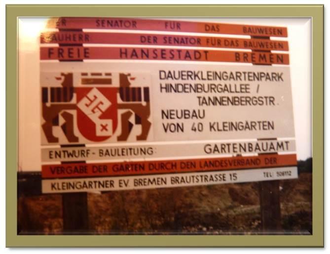 Baustellenschild; Gebiet nördlich der Tannenbergstraße; März 1977