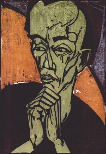 Erich Heckel, Portrait d'homme, 1919.