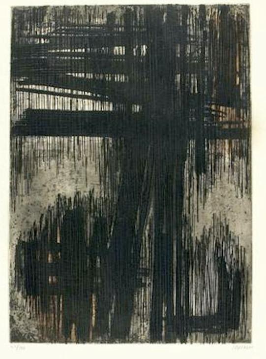 Soulages,  eau-forte, 1957, 50 x 60.