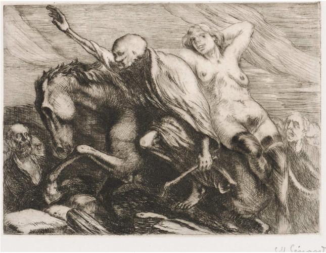 Sénard, La femme et la mort, eau-forte.
