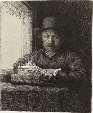 Rembrandt, Autoportrait en train de dessiner, 1648