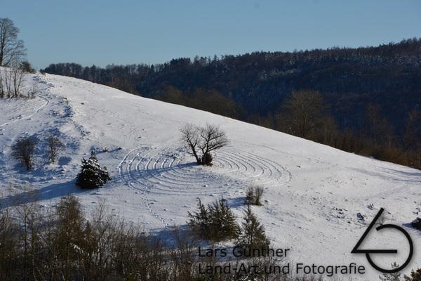 Februar 2021 gelaufenen Schneemuster - Eichstätt Spindeltal (Kaninchenbau)