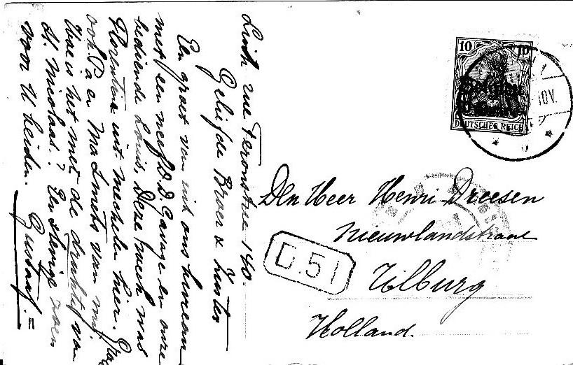 Foto/Postkaart van Gustaaf Schulte, de schoonbroer van Harry Dreesen (Luik tijdens de Duitse bezetting 1914-1918)
