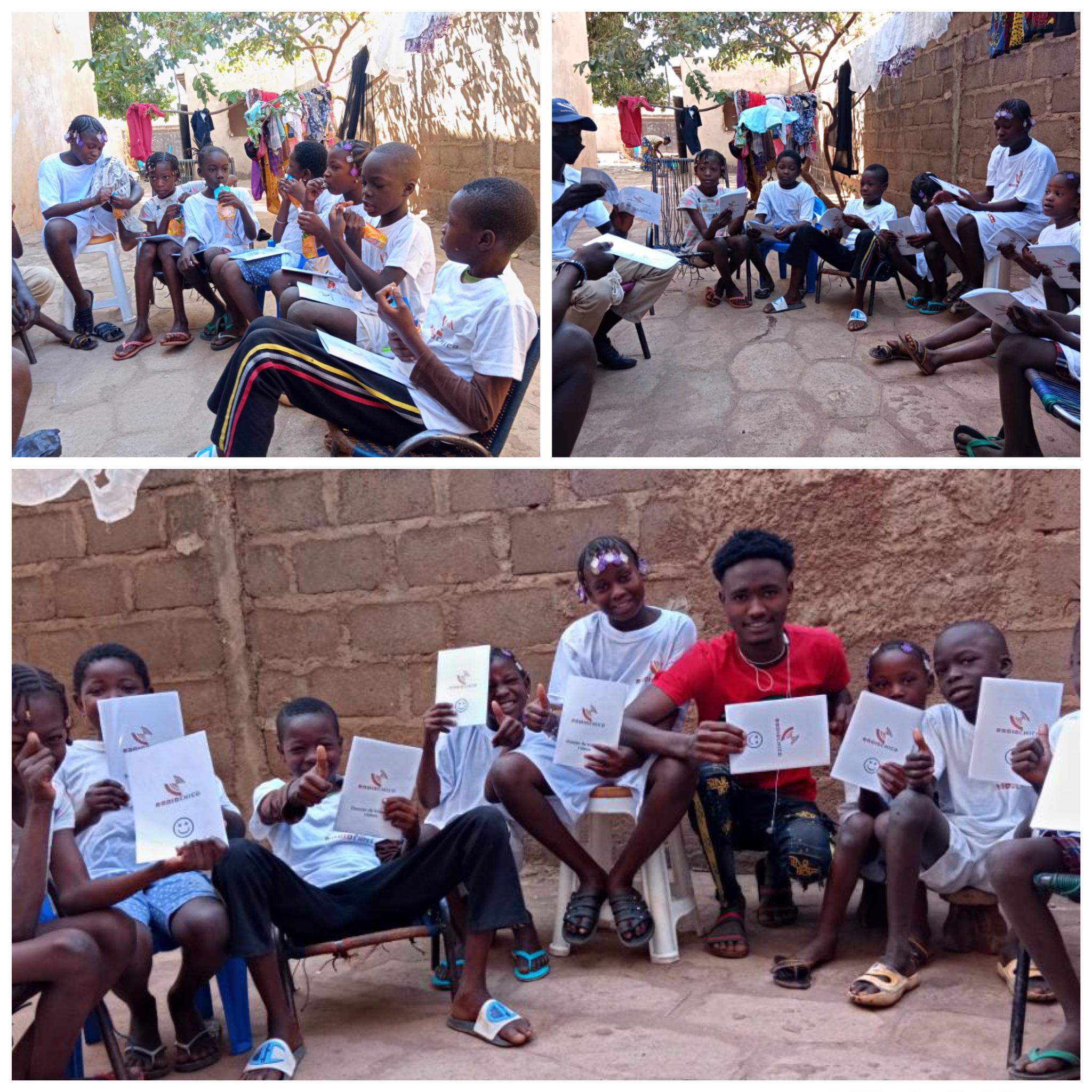 Lehrer Ibrahim und die Schüler mit dem RadioChico-Schulmaterial