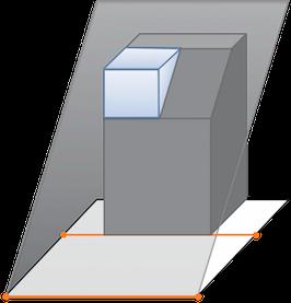 従来の斜線規制に適合させた設計では、十分な設計空間が取れない場合がありました。 天空率計算の採用で設計可能な空間が増えます。(青色の部分)
