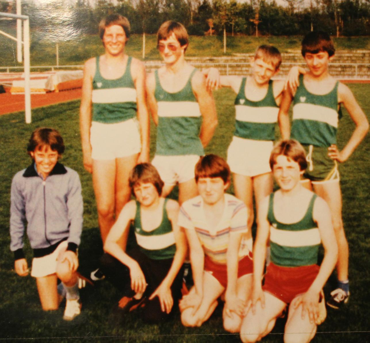 LG Schülergruppe 1983: Hinten vl Christian Wehowsky, Jürgen Link, Christian Eberhardt, Thomas Gaipl. Vorne vl Christian Steiner, Karlo Krebs, Reinhard Kitzinger, Thomas Turnhuber.