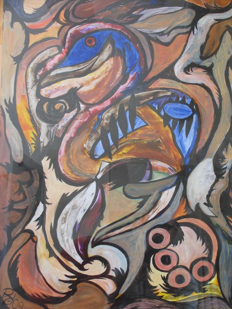 Ente mit Gelege, Acryl, Fasermaler auf Fotokarton, 80 x 60 cm