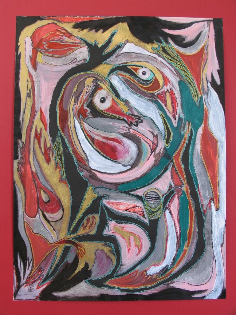 Urvogel, Acryl, Fasermaler auf Fotokarton, 80 x 60 cm