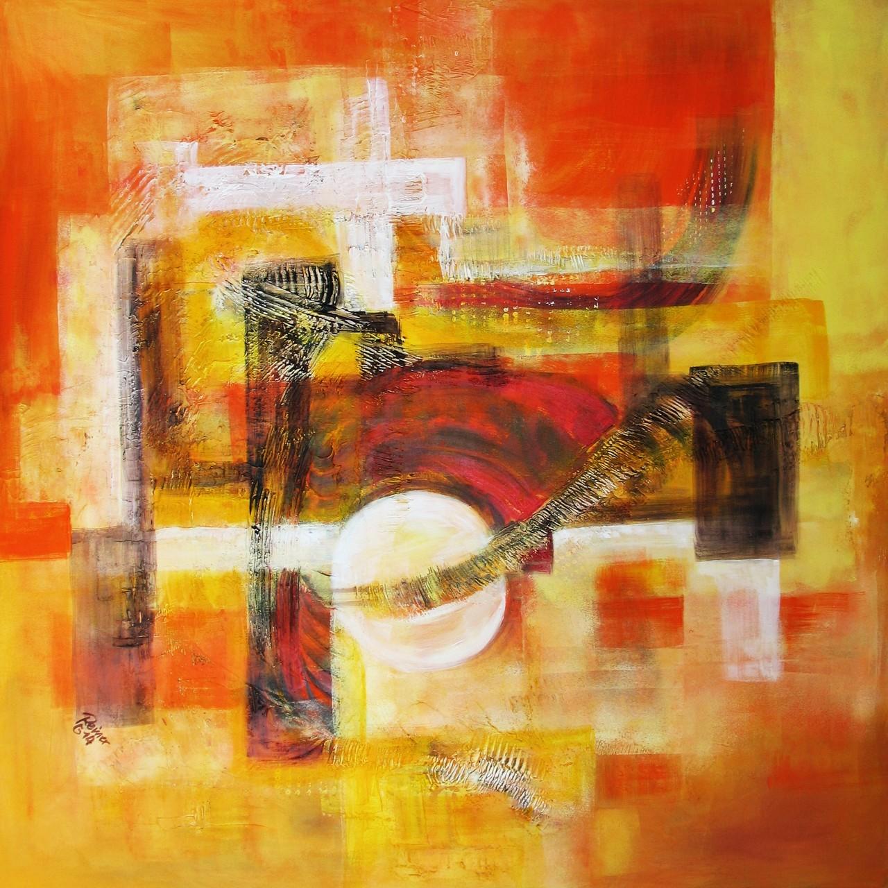 Westwärts, Acryl, Strukturpaste auf Leinwand, 80 x 80 cm