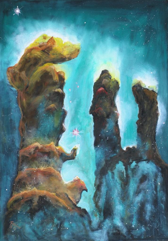 Säulen der Schöpfung, Öl auf Leinwand, 70 x 50 cm