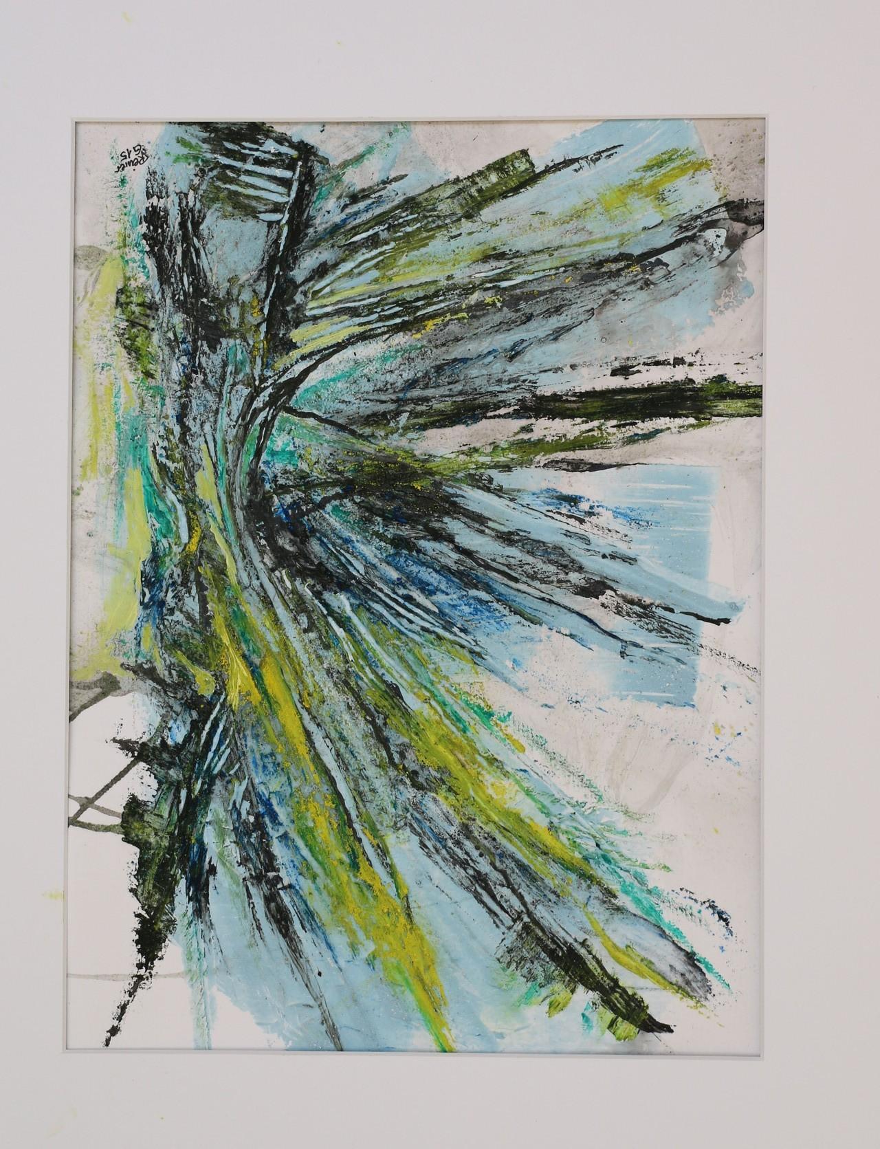 Aufprall, Acryl,Marmormehl,Öl auf Papier 50 x 40 cm