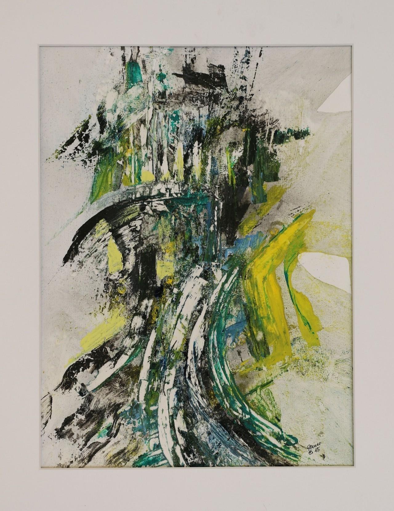 Alter Turm,  Acryl,Marmormehl,Öl auf Papier  50 x40 cm