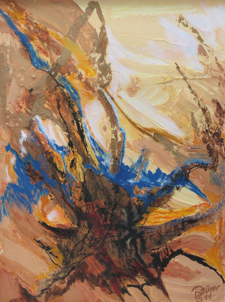 Felsspalte 1, Acryl, Marmormehl, Tusche auf Papier, 40 x30 cm