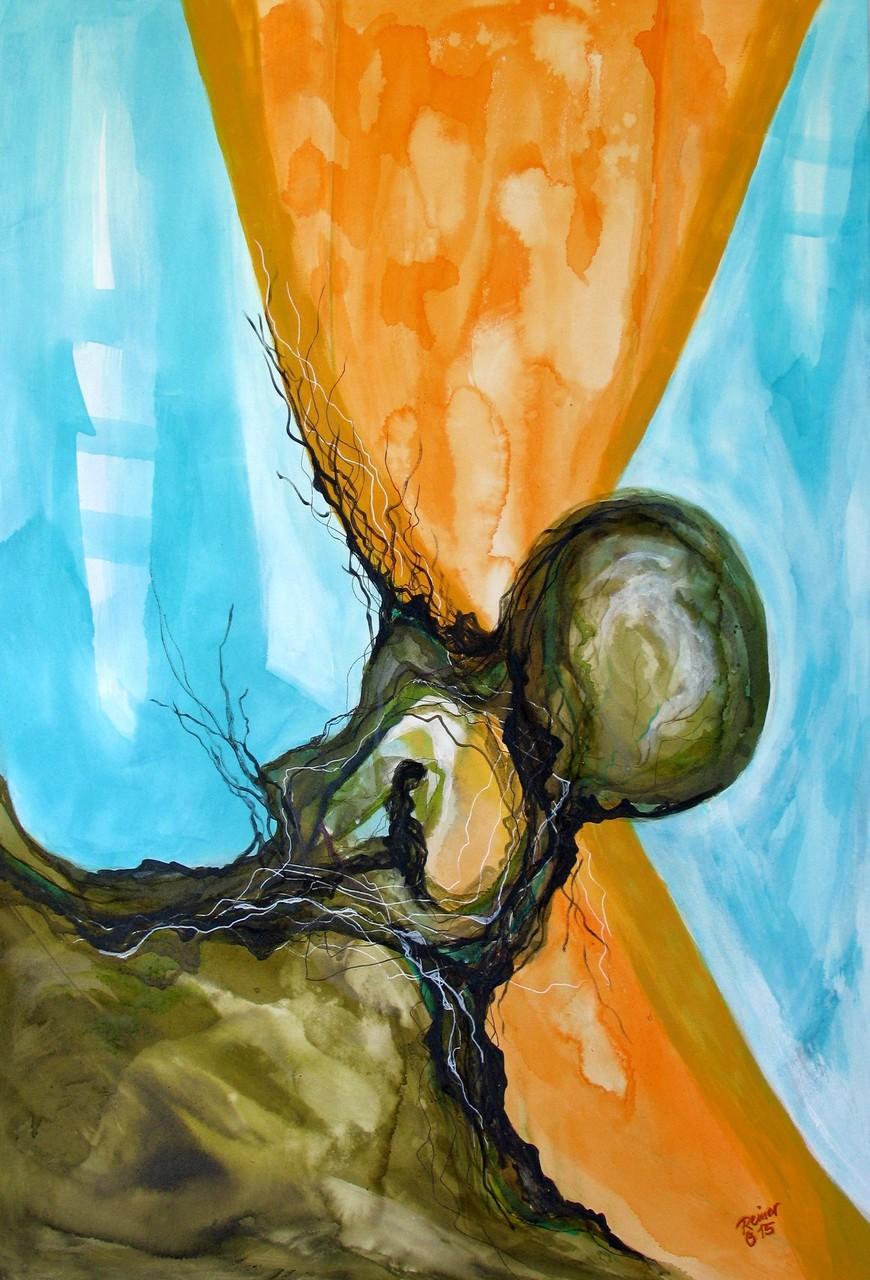Ursprung, Tusche, Acryl auf Holz, 120 x 80 cm
