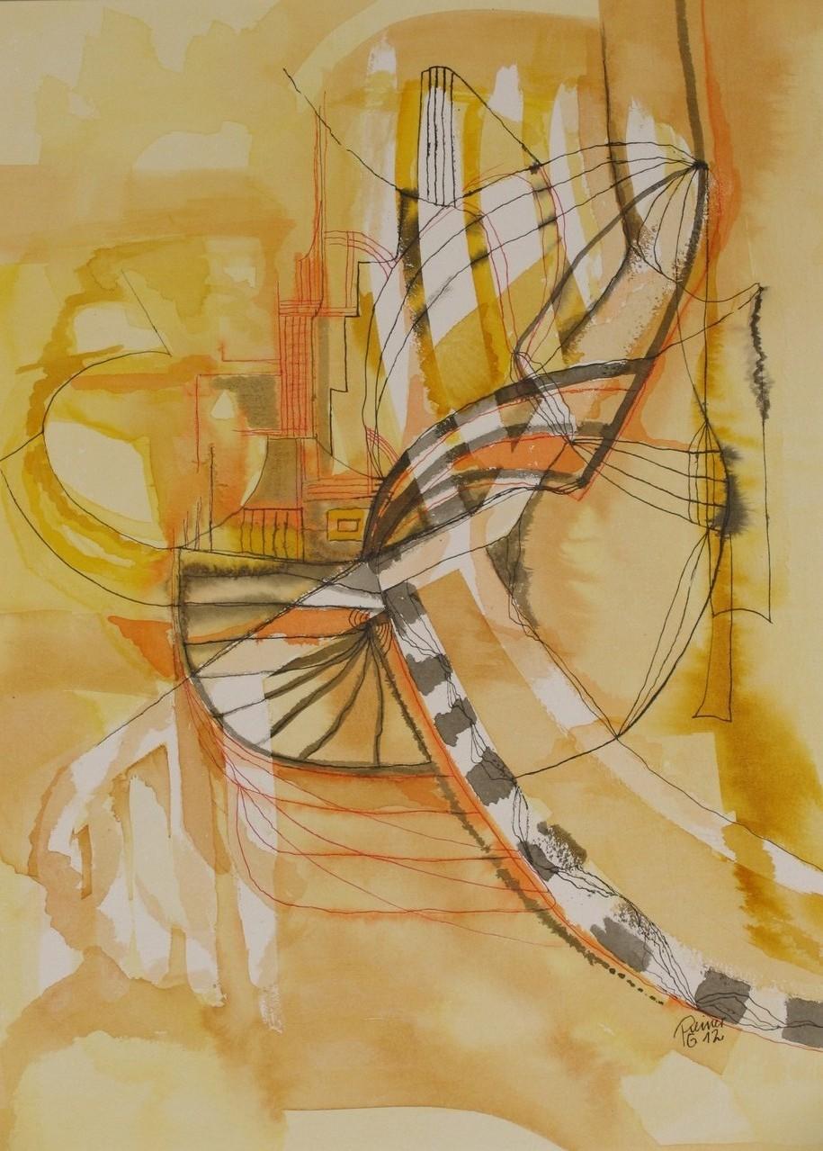 Grafik gelb 1, Tusche auf Papier, 40 x 30 cm